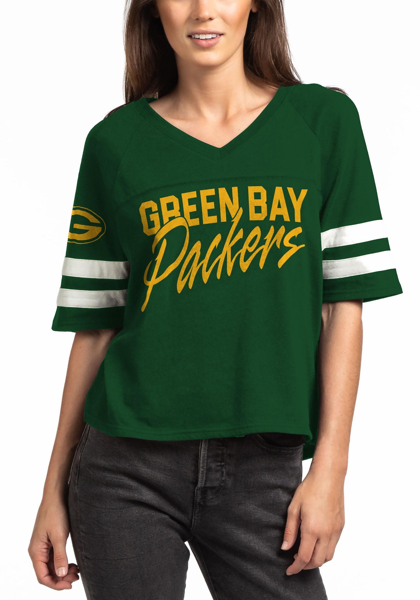 798851a6 Green Bay Packers Womens V-Neck Hunter Green Football Tee