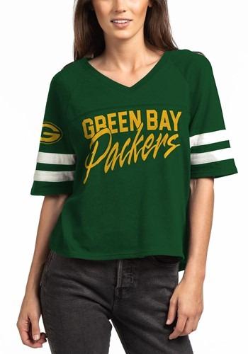 Green Bay Packers Womens V-Neck Hunter Green Football Tee