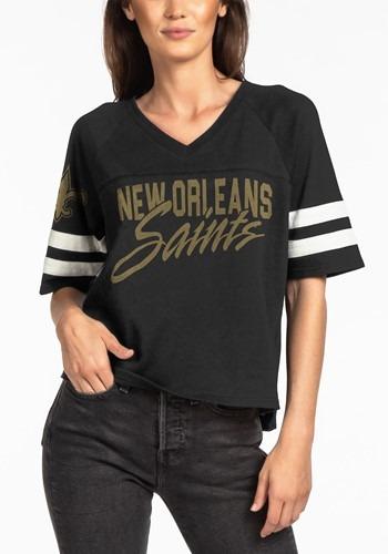New Orleans Saints Womens V-Neck Black Football Tee