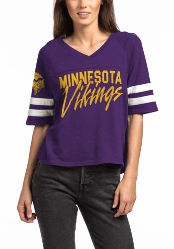 Minnesota Vikings Womens V-Neck Purple Foorball Tee