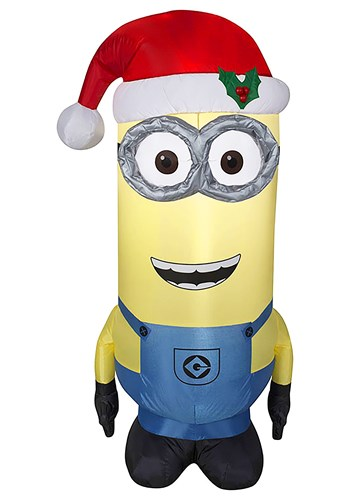 Despicable Me Inflatable Kevin Minion in Santa Hat Decor Upd