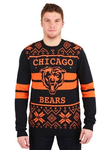 Chicago Bears Adult 2 Stripe Big Logo Light Up Sweater upd