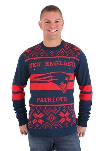 New England Patriots 2 Stripe Big Logo Light Up Sweater