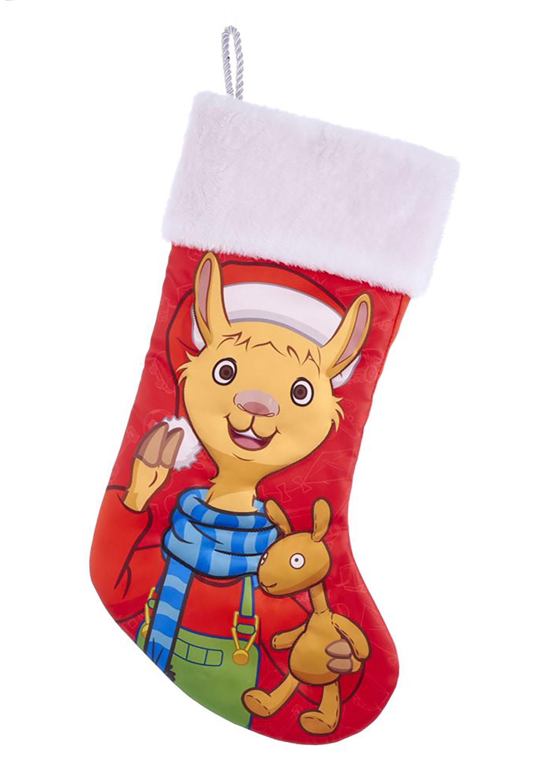 Llama Christmas Stocking.Llama Llama Stocking W White Faux Fur Cuff