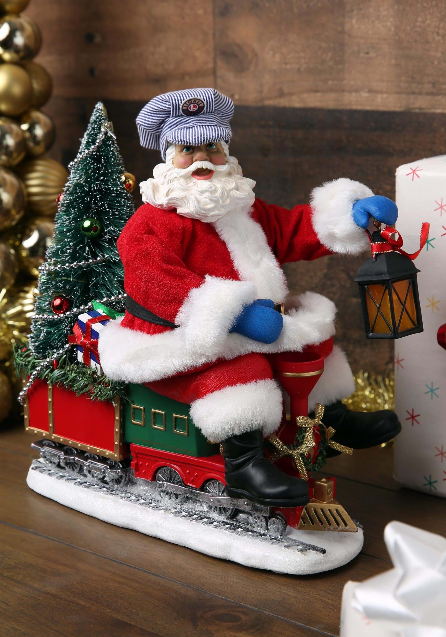 Lionel Christmas Train.Lionel Lighted Fabriche Santa On Train Tablepiece