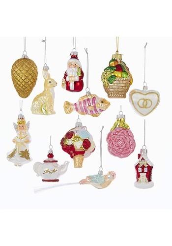 Noble Gems Glass Wedding 12pc Ornament Set