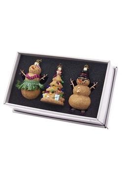 Noble Gems Glass Sand Tree & Snowman 3pc Ornament