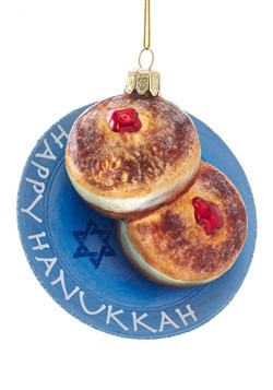 Noble Gems Hanukkah Jelly Donut Glass Ornament