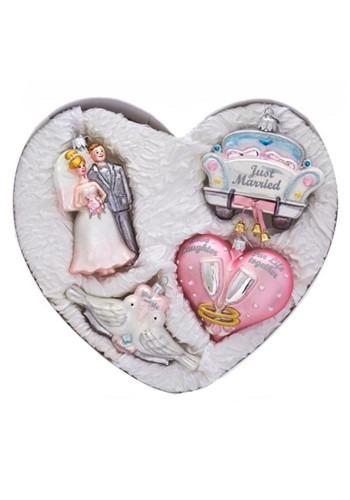 Noble Gems Glass Heart Shapped Wedding 4Pc Ornament Set