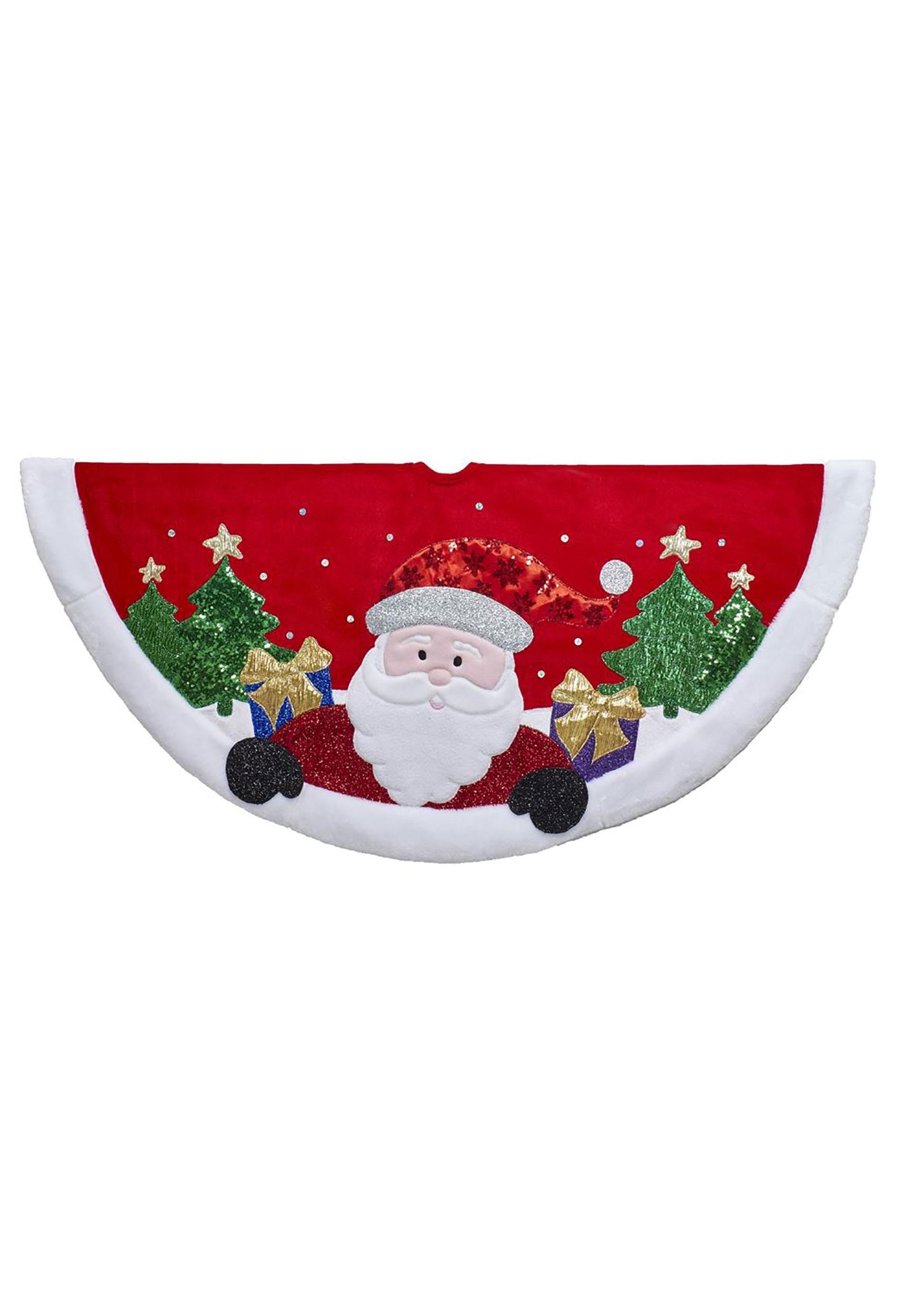 """48/"""" Red or White Velvet Christmas Tree Skirt"""
