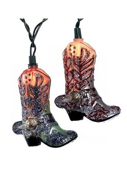 Glittery 10 Lights Cowboy Boots Light Set