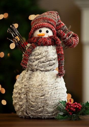 Plaid Snowman w/ Hat & Mittens Tablepiece upd