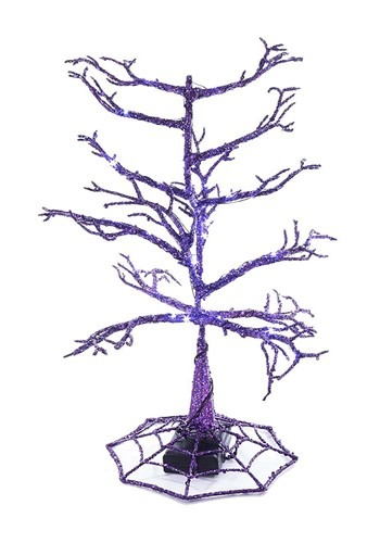 "14"" Halloween Purple LED Tree"