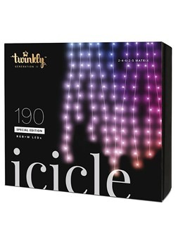 Twinkly 190 LED Icicle Light Set Bluetooth Activat