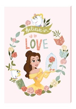Disney Princess Belle Motivational Wall Art Canvas with Glit