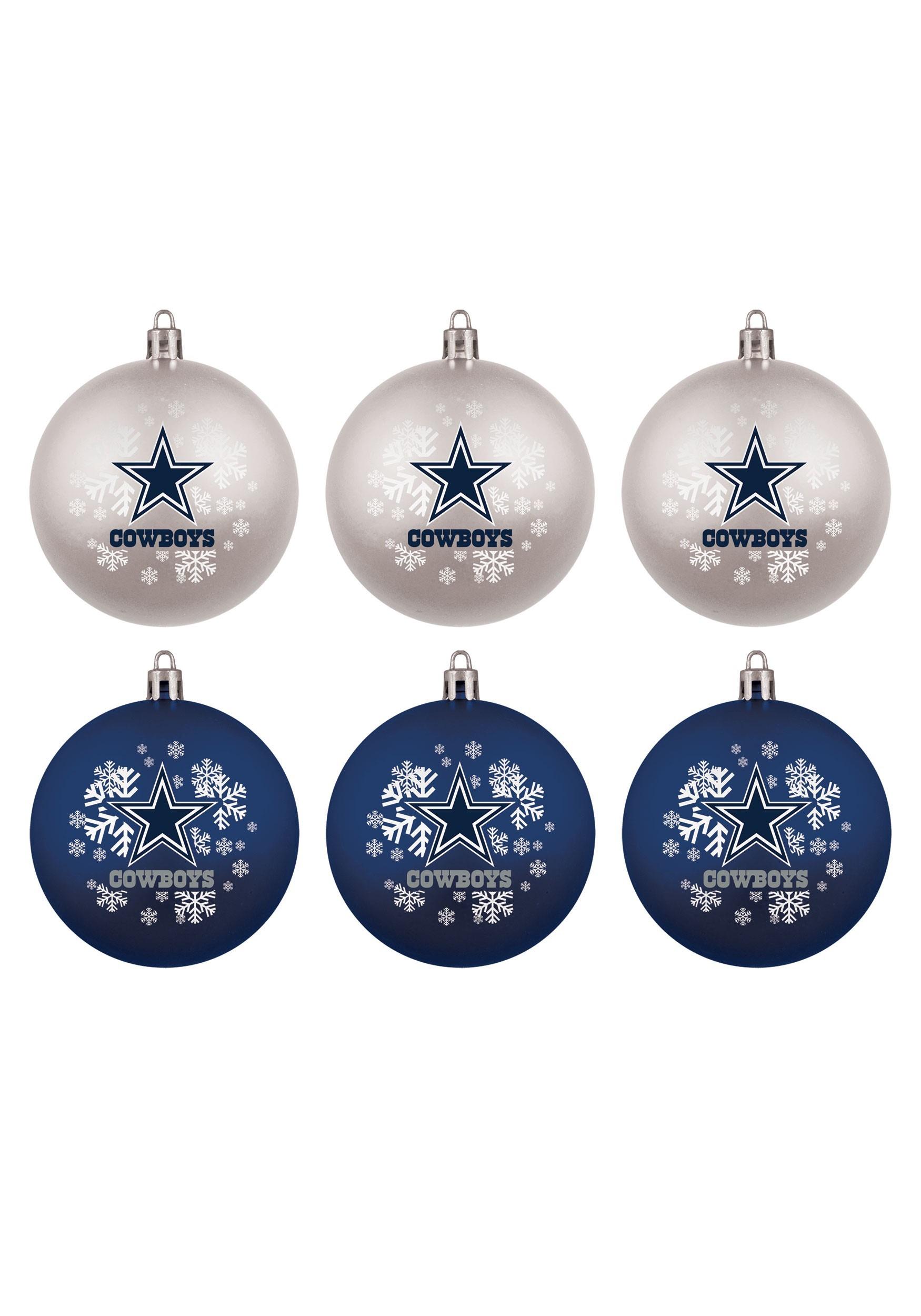 Dallas cowboys shatterproof ornament 6 pack set