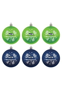Seattle Seahawks Shatterproof Ornaments 6 Pack Set