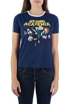 My Hero Academia Striped Sleeve Ringer Juniors T-Shirt