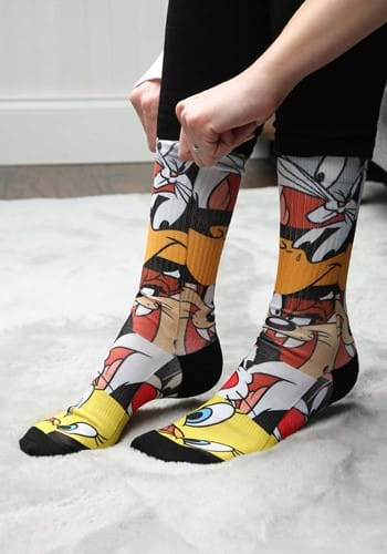Looney Tunes Character Heads Sublimated Socks New