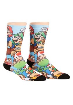 Mario Brothers Stacked Characters Sublimated Socks New