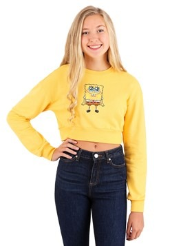 Juniors Spongebob Cropped Crewneck Sweatshirt
