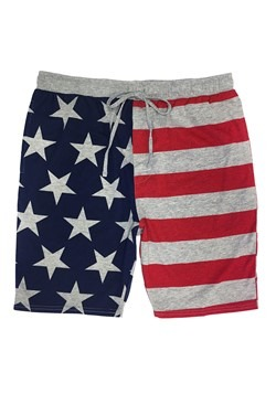 Stars & Stripes Drawstring Heather Gray Sleep Shorts