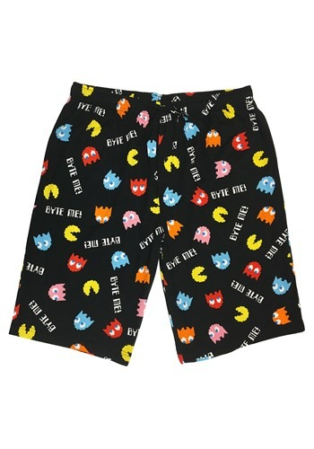 Pac Man Black Drawstring Sleep Shorts