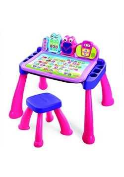 Girls VTech Touch Learn Deluxe Activity Desk and Stool