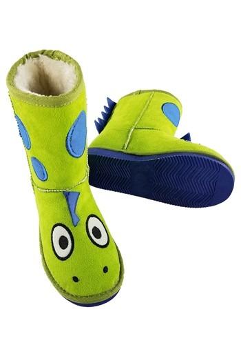 Kids Dinosaur Green Toasty Toez Slippers