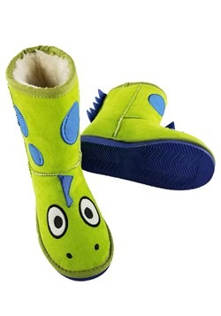 Kids Dinosaur Green Toasty Toez Slippers