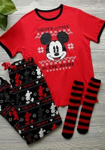 Mens Mickey Mouse Shirt, Plush Pants and Socks Set