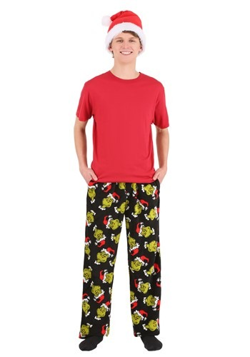 Mens Sneaky Grinch Plush Lounge Pants with Santa Hat 1