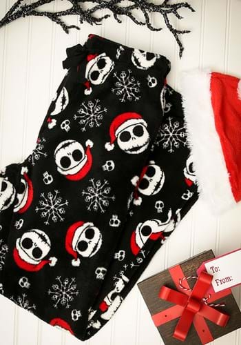 Mens Jack Skellington Soft Lounge Pants with Santa Hat
