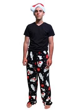 Mens Classic Coca-Cola Bears Plush Lounge Pants with Santa H