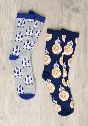 Adult Star Wars R2D2 and BB-8 2-Pack Casual Crew Socks Updat