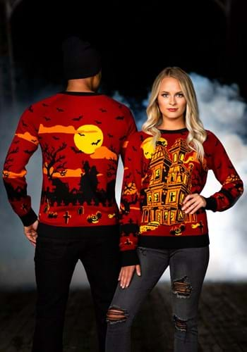 Haunted House Ugly Halloween Sweater for Adults