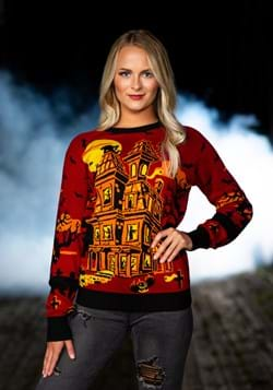 Haunted House Ugly Halloween Sweater for Adults Alt 1