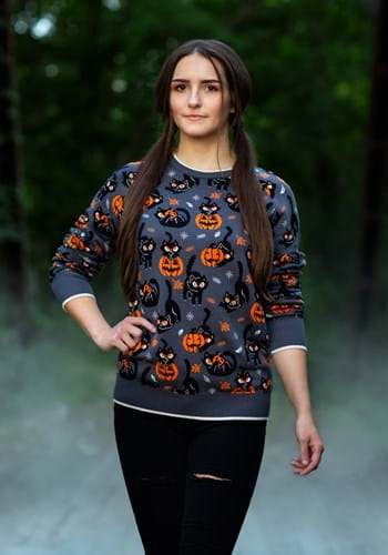 Adult Quirky Kitty Ugly Halloween Sweater