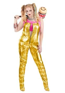 Women's Plus vHarley Quinn Gold Overalls Costume