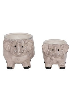 Ceramic Elephant Planter Set of 2