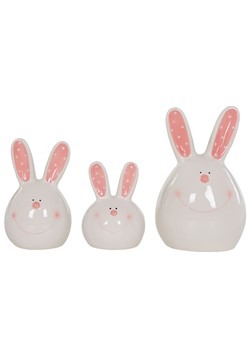 Ceramic Cheek Bunny Head Platter Set of 3