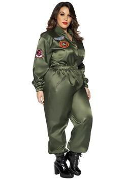 Top Gun Women's Plus Size Flight Suit Costume