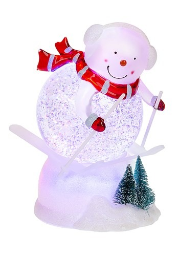 Light Up Swirling Skiing Snowman Figurine