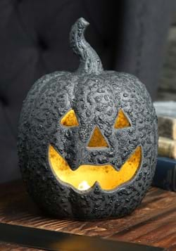 Large Ceramic Black Stone-Look Glow Pumpkin