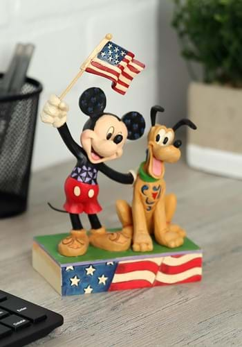 Mickey and Pluto Patriotic Statue