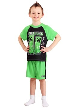 Boy's Minecraft Creeper Shirt and Short Sleep Set