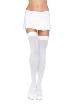 Womens White Thigh High Stockings