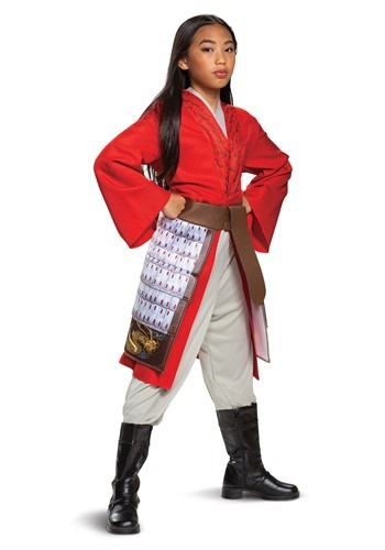 Girl's Mulan Deluxe Red Hero Costume