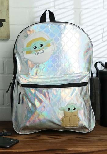 """Star Wars """"The Child"""" Baby Yoda Shiny Quilted 16"""" Backpack"""
