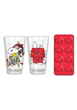 SNOOPY HOUSE AND LIGHTS 2PC PUB SET CLEAR GLASS w/